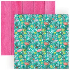 Best Summer Ever 12x12 Paper- Flamingos