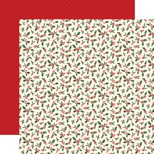 Hello Christmas 12x12 Paper- Holly Berries