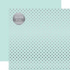 Foil Polka Dot 12x12 Paper- Mint, Light with Silver Dots