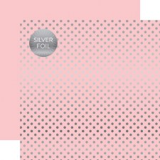 Foil Polka Dot 12x12 Paper- Pink, Light with Silver Dots