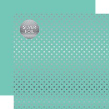 Foil Polka Dot 12x12 Paper- Mint with Silver Dots