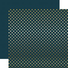 Foil Polka Dot 12x12 Paper- Navy with Gold Dots