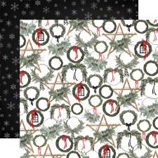 Farmhouse Christmas 12x12 Paper- Noel Wreaths