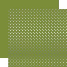 Foil Polka Dot 12x12 Paper- Olive Green with Silver Dots