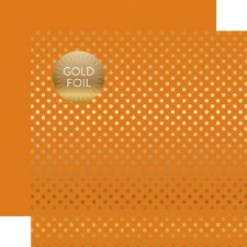 Foil Polka Dot 12x12 Paper- Orange with Gold Dots