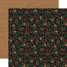 A Lumberjack Christmas 12x12 Paper- Pinecones & Leaves