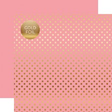 Foil Polka Dot 12x12 Paper- Pink with Gold Dots