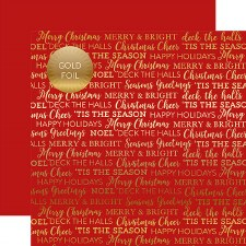 Carta Bella 12x12 Foiled Holiday Sentiments Paper- Red