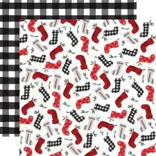 Farmhouse Christmas 12x12 Paper- Stockings
