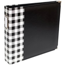 We R Memory Keepers 12x12 Classic Leather 3-Ring Album- Buffalo White Check