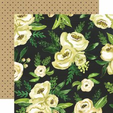 Botanical Garden 12x12 Paper- White Rose Bouquet