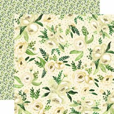 Botanical Garden 12x12 Paper- White Rose Spray