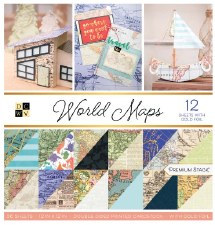 12x12 DCWV Paper Stack- World Maps