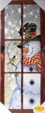Winter Lighted Canvas- Snowman & Chickadee
