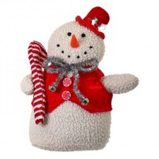 """Wooly Plush Standing Snowman- 13"""""""