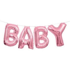 "14"" Baby Balloon Kit- Pink Foil"