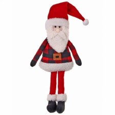 Buffalo Plaid Plush Sitting Santa- 15""