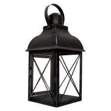 "15"" Metal Lantern with Glass"