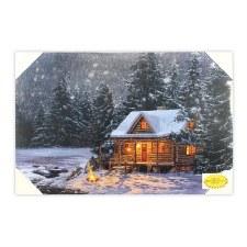 Christmas Lighted Canvas- Log Cabin