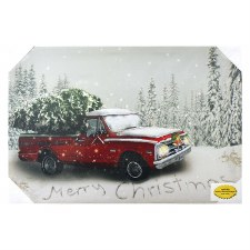 Christmas Lighted Canvas- Pickup Truck w/ Tree