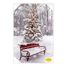 Christmas Lighted Canvas- Park Bench w/ Tree