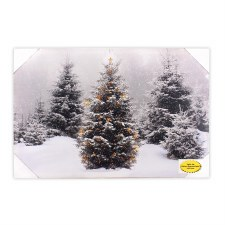 Christsmas Lighted Canvas- Snowy Pines