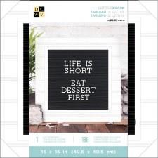 DCWV Framed Letterboard 16x16- White w/ Black Insert