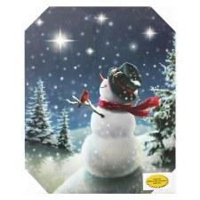 Christmas Lighted Canvas- Snowman Wish