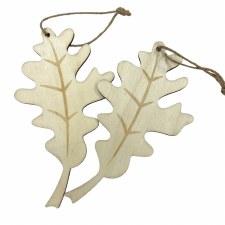 Oak Leaf Wood Ornament 2pk
