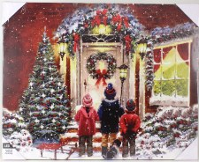 Christmas Lighted Canvas- Children Carolers