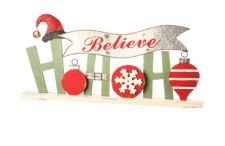 """24 In. Wood & Metal """"HoHoHo"""" Ornament Tablepiece"""