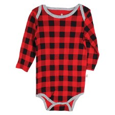 Hot Cocoa Long Sleeve Sleeper, Buffalo Check- 24M
