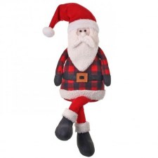 Buffalo Plaid Plush Sitting Santa- 28""