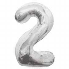 "34"" Number Balloon, Silver Foil- 2"