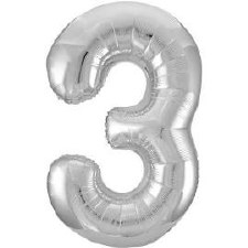 "34"" Number Balloon, Silver Foil- 3"
