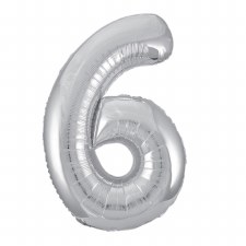 "34"" Number Balloon, Silver Foil- 6"