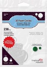 """3D Foam Circles- .5"""" & .25"""" White"""