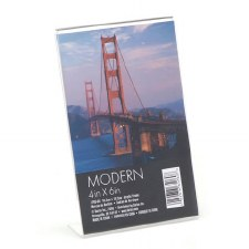 "Clear Acrylic Modern Vertical L-Shape Picture Photo Frame, 4"" x 6"""