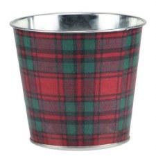 """4.5"""" H x 5"""" W Tartan Plaid Pot - Red/Emerald Green"""