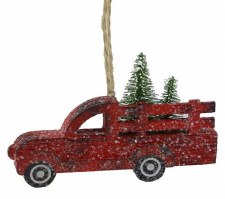 "Red Truck Paper Ornament - 5""x3"""