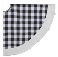 54 In. Check Fabric w/ PomPom Tree Skirt - Black/White