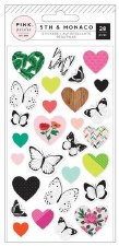 5th & Monaco Stickers- Puffy Butterflies & Hearts