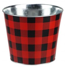 "5.5"" H x 6.75"" W Galvanized Buffalo Check Pot - Red/Black"