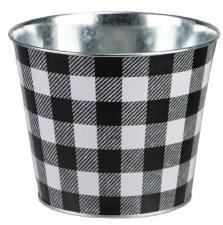"5.5"" H x 6.75"" W Galvanized Buffalo Check Pot - Black/White"