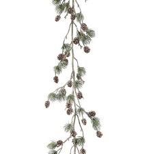 6' Glitter Pine Garland w/ Pine Cones