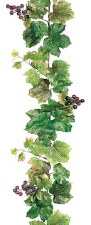 Grape Leaf Garland with Grapes, 6ft