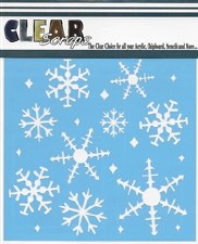 Clear Scraps 6x6 Stencil- Ice Crystal Snowflakes