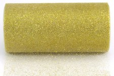 "6"" Glitter Tulle Roll, 10 yards- Antique Gold"
