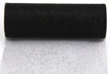 "6"" Glitter Tulle Roll, 10 yards- Black"