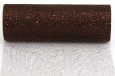 "6"" Glitter Tulle Roll, 10 yards- Brown"